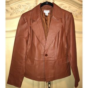 Butterscotch Brown Leather Blazer